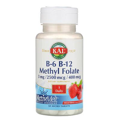 Купить KAL B-6 B-12 Methyl Folate, Mixed Berry, 3 mg / 2500 mcg / 400 mcg, 60 Micro Tablets