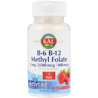 KAL, B-6 B-12 Methyl Folate, Mixed Berry, 3 mg / 2500 mcg / 400 mcg, 60 Micro Tablets