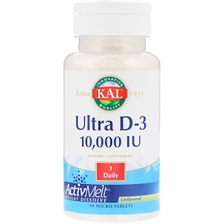 KAL, Ultra D-3, Unflavored, 10,000 IU, 90 Micro Tablets