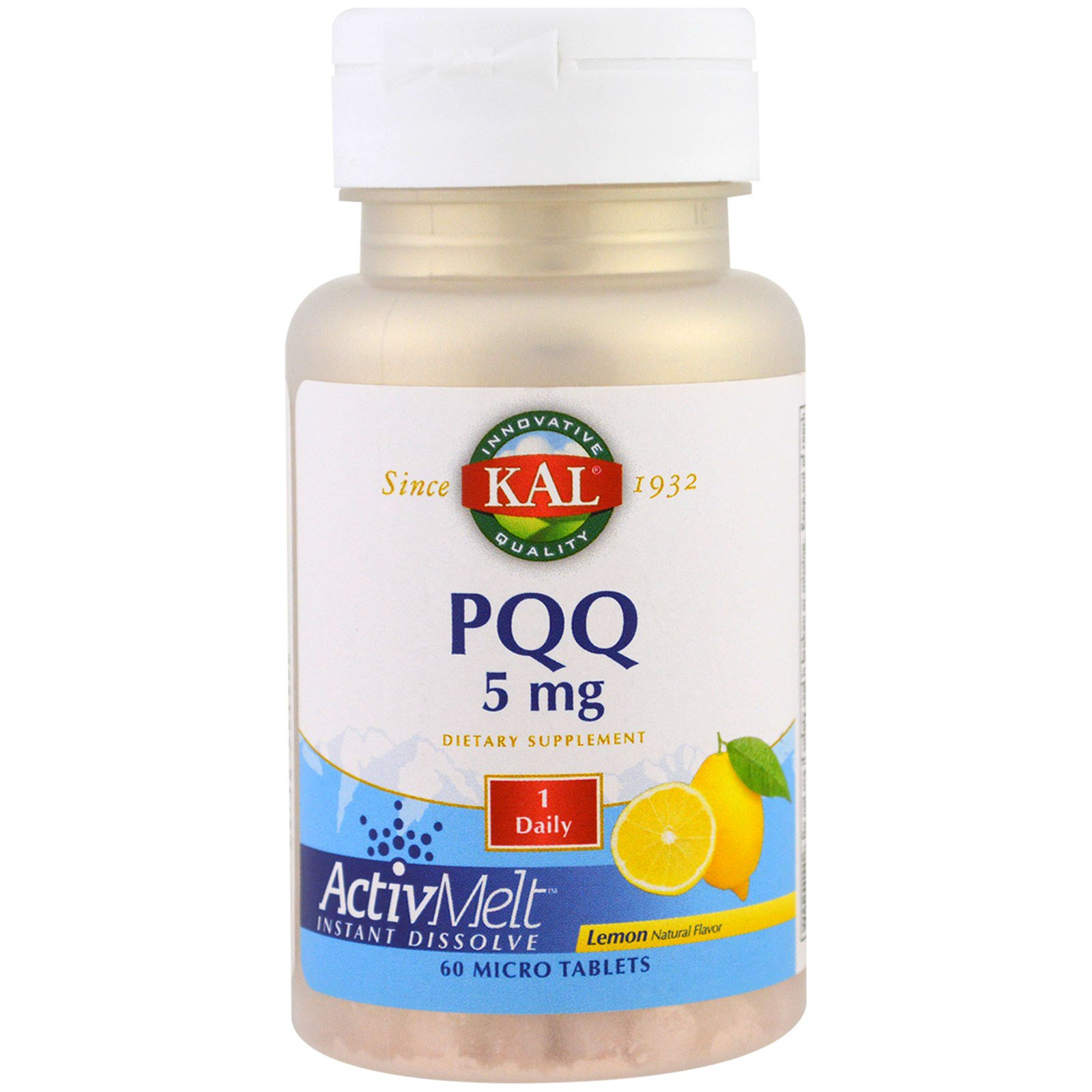 KAL, PQQ (пирролохинолинхинон) с лимонным вкусом, 5 мг, 60 микротаблеток