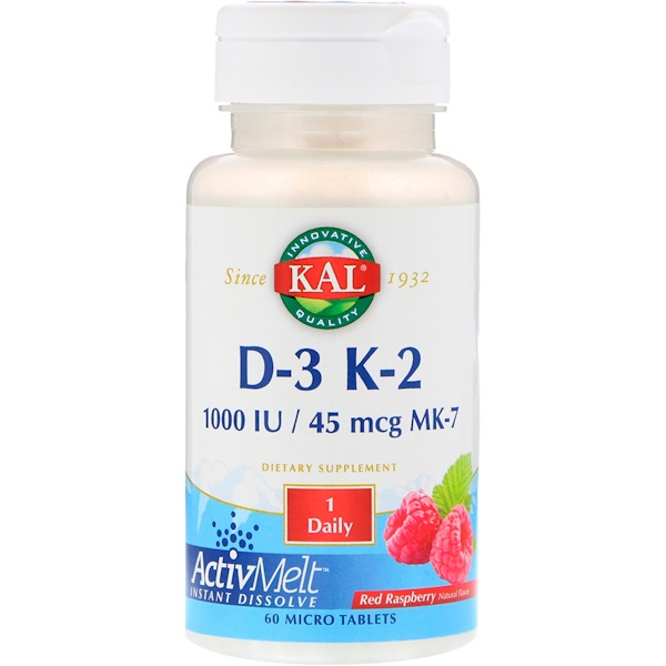 KAL, D-3 K-2, Red Raspberry, 1000 IU / 45 mcg MK-7, 60 Micro Tablets (Discontinued Item)