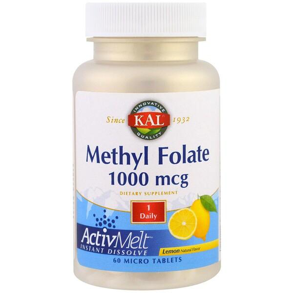KAL, 葉酸甲酯,檸檬,1000微克,60微米片
