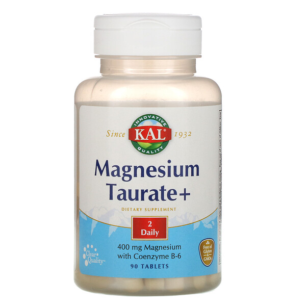 KAL, Magnesio taurate +, 400 mg, 90 tabletas