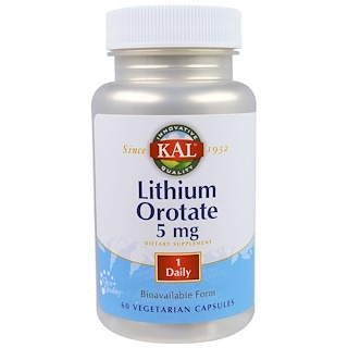 KAL, Orotato de litio, 5 mg, 60 cápsulas vegetarianas