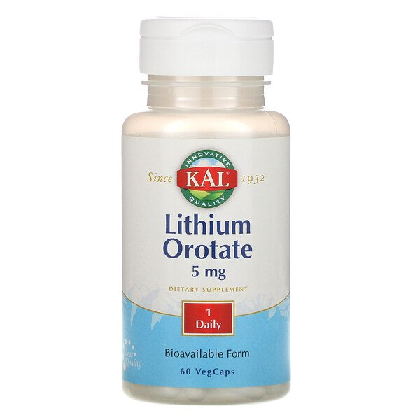 KAL, Orotato de Lítio, 5 mg, 60 Cápsulas Vegetais