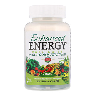 KAL, 加强能量,每日一次全整食物复合维生素,60 片素食片
