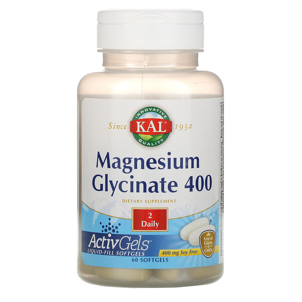 Magnesium Glycinate 400, Soy Free, 400 mg, 60 Softgels