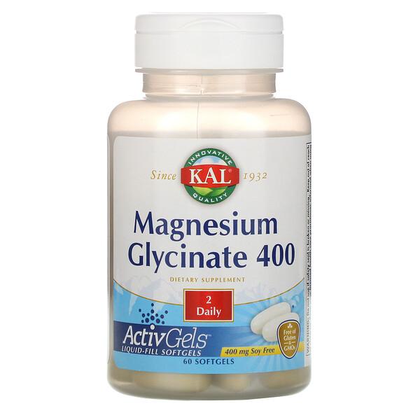 جليسينات الماغنيسيوم 400، خالية من الصويا، 400 مغم، 60 كبسولة هلامية