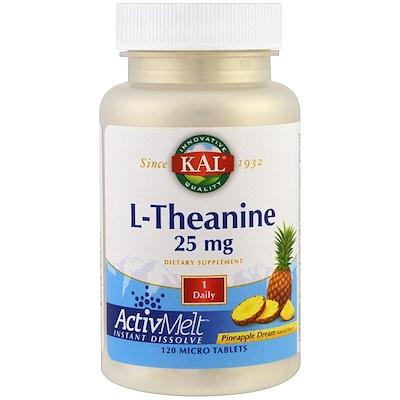 L-теанин, ActivMelt, ананасовая мечта, 25 мг, 120 микротаблеток