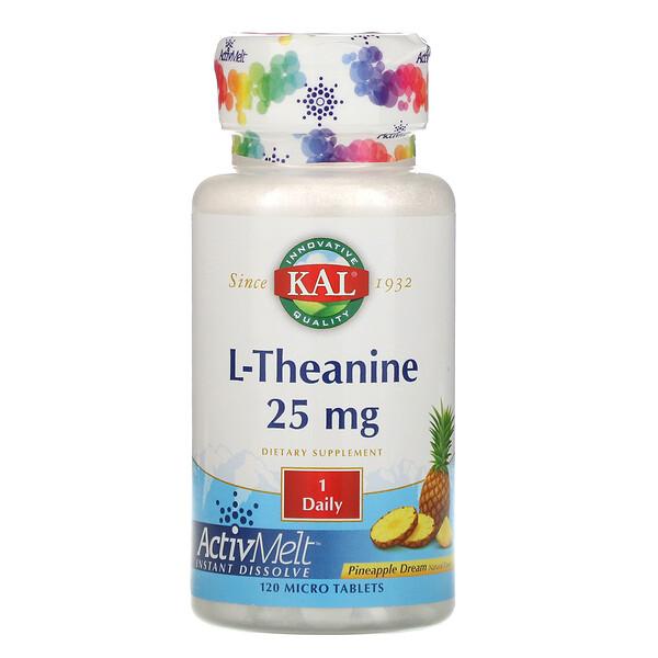 L-Teanina com ActivMelt, Sabor Torta de Abacaxi, 25 mg, 120 Microcomprimidos