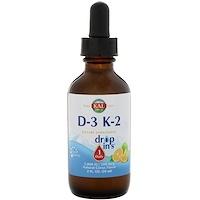 Drop Ins, витамины D-3 и K-2, натуральный цитрусовый вкус, 2 ж. унц. (59 мл) - фото