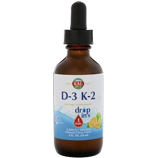 KAL, ビタミンD-3 K-2 ドロップ Ins、ナチュラルシトラス風味、2液量オンス (59 ml)