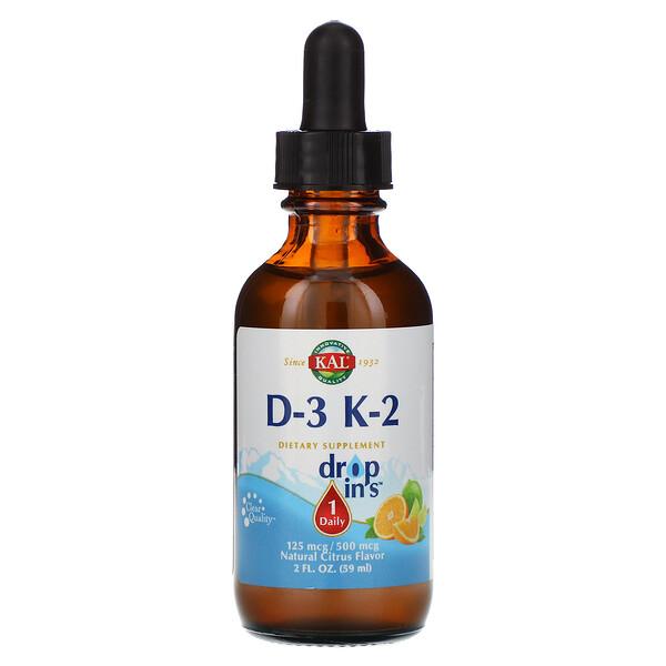 قطرات الفيتامين D-3 K-2 ، نكهة الحمضيات الطبيعية، 2 أونصة سائلة (59 مل)