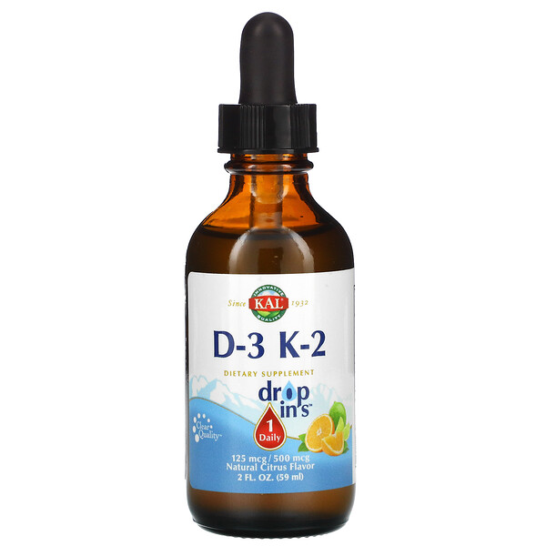 KAL, D-3 K-2 Drop Ins, Natural Citrus , 2 fl oz (59 ml)