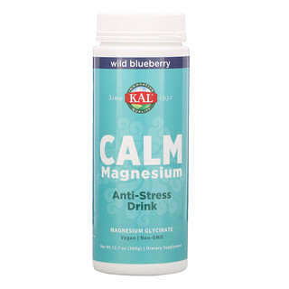 KAL, Calm Magnesium, Anti-Stress Drink, Wild Blueberry, 12.7 oz (360 g)