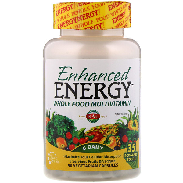 KAL, Enhanced Energy, Whole Food Multivitamin, 90 Vegetarian Capsules