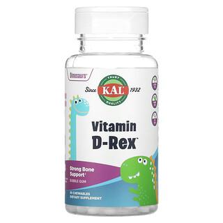 KAL, Vitamin D-Rex, витаминD со вкусом жевательной резинки, 400МЕ, 90жевательных таблеток