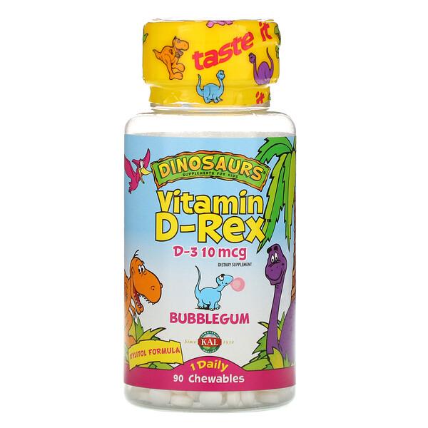 KAL, Vitamina D Vitamin D-Rex, Goma de mascar, 400UI, 90 gomitas masticables