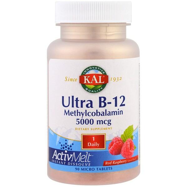 KAL, 超B-12甲基鈷胺素,紅莓,5000微克,90微片