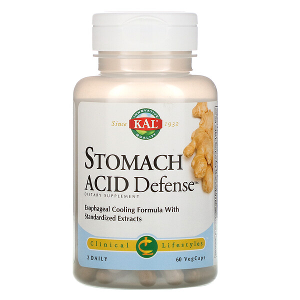 KAL, Stomach Acid Defense, 60 Vegetarian Capsules (Discontinued Item)