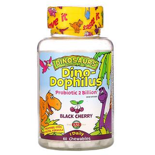 KAL, Dinosaurs, Dino-Dophilus, пробиотики со вкусом черешни, 60жевательных таблеток