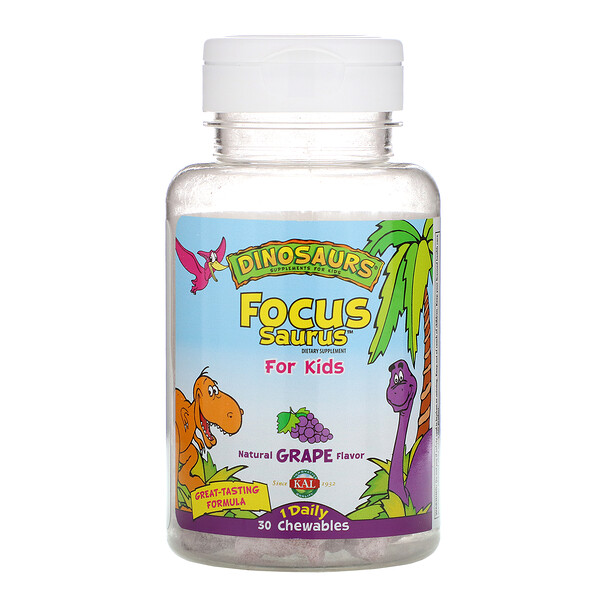 KAL, Focus Saurus for Kids, Grape, 30 Chewables (Discontinued Item)