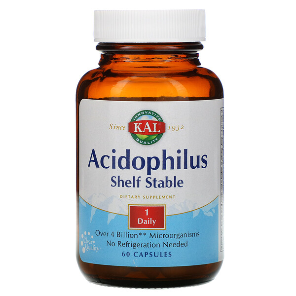 KAL, Acidophilus Shelf Stable, 60 Capsules