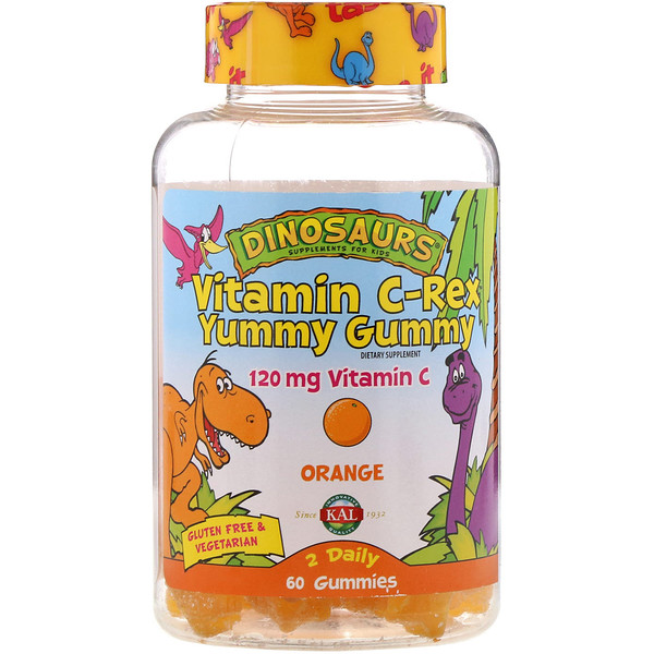 KAL, Vitamin C-Rex Yummy Gummy, Orange, 120 mg, 60 Gummies