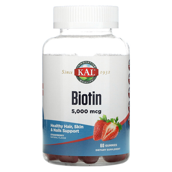 Biotin, Strawberry, 5,000 mcg, 60 Gummies