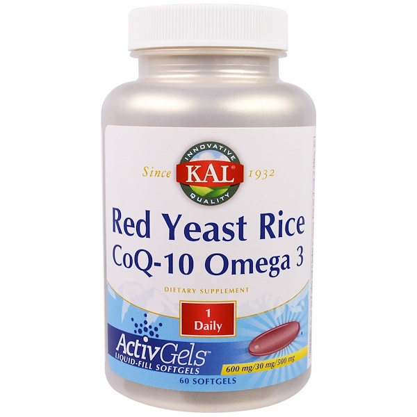 KAL, Red Yeast Rice CoQ-10 Omega 3, 60 Softgels (Discontinued Item)