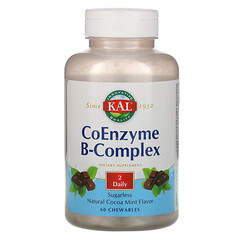 KAL, 輔酶複合維生素B,天然可可薄荷味,60粒咀嚼片