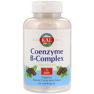 KAL, Coenzyme B-Complex, Natural Cocoa Mint, 60 Chewables
