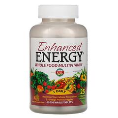 KAL, 加強能量,全整食物複合維生素,芒果菠蘿味,60 片咀嚼片