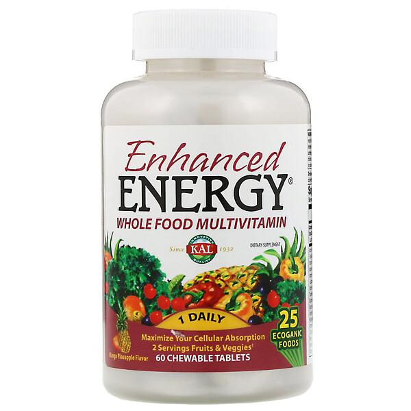 KAL, Enhanced Energy, Whole Food Multivitamin, Mango Pineapple Flavor, 60 Chewable Tablets