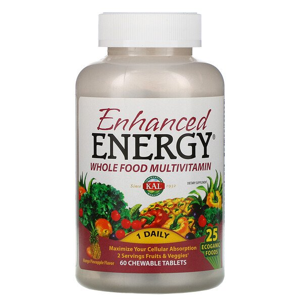 KAL, طاقة معززة، غذاء متكامل متعدد الفيتامينات، نكهة المانجو أناناس، 60 قرص قابل للمضغ