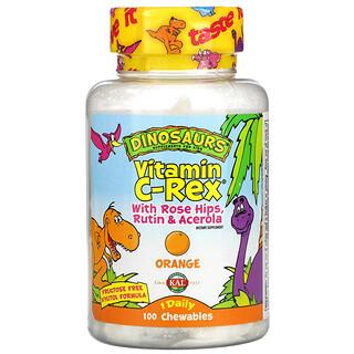 KAL, Dinosaurs, Vitamin C-Rex With Rose Hips, Rutin & Acerola, Orange, 100 Chewables
