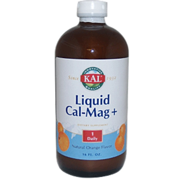 KAL, Liquid Cal-Mag +, Natural Orange Flavor, 16 fl oz (Discontinued Item)