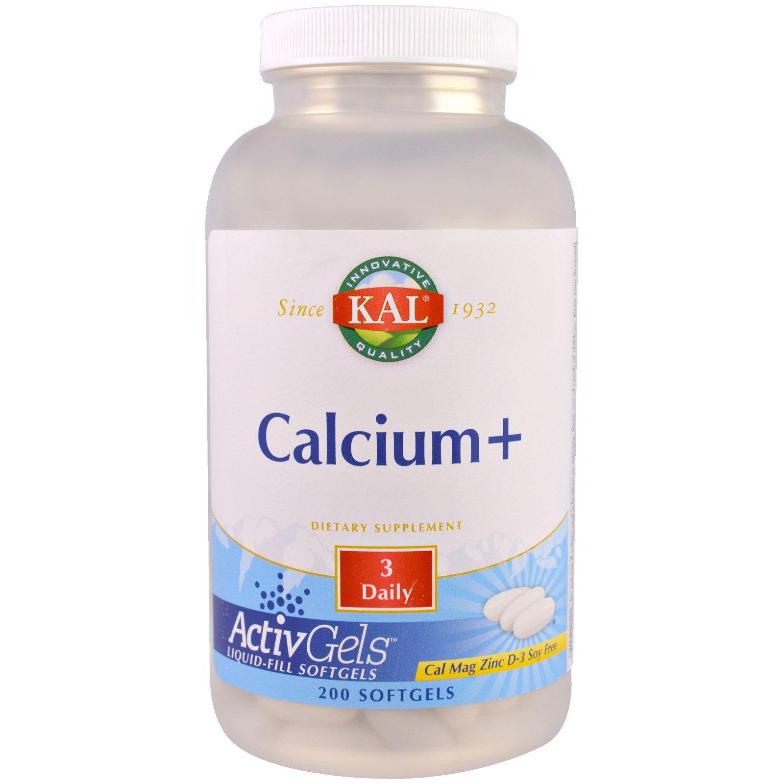KAL, Кальций+, 200 мягких капсул