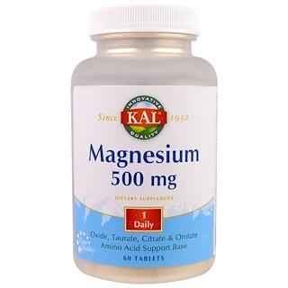 KAL, Magnésio, 500mg, 60 cápsulas
