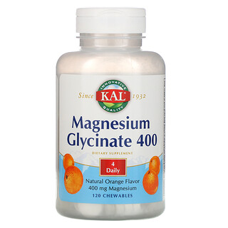 KAL, Magnesium Glycinate 400, Natural Orange Flavor, 120 Chewables
