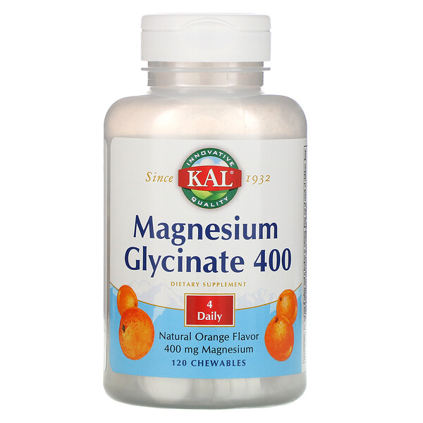 Magnesium Glycinate 400, Natural Orange Flavor, 120 Chewables
