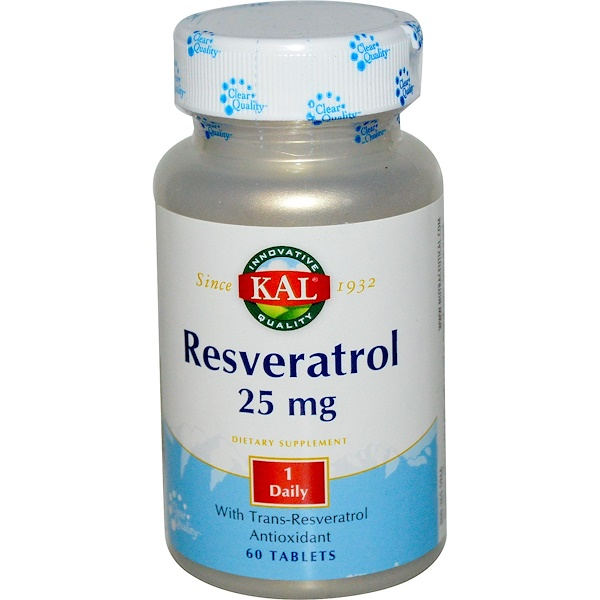 KAL, Resveratrol, 25 mg, 60 Tablets (Discontinued Item)