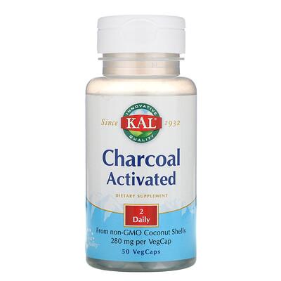 KAL Активированный уголь, 280 мг, 50 капсул с оболочкой из ингредиентов растительного происхождения