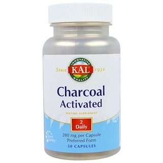 KAL, Charcoal Activated, 280 mg, 50 Capsules