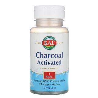 KAL, Carbón activado, 280 mg, 50 cápsulas vegetales