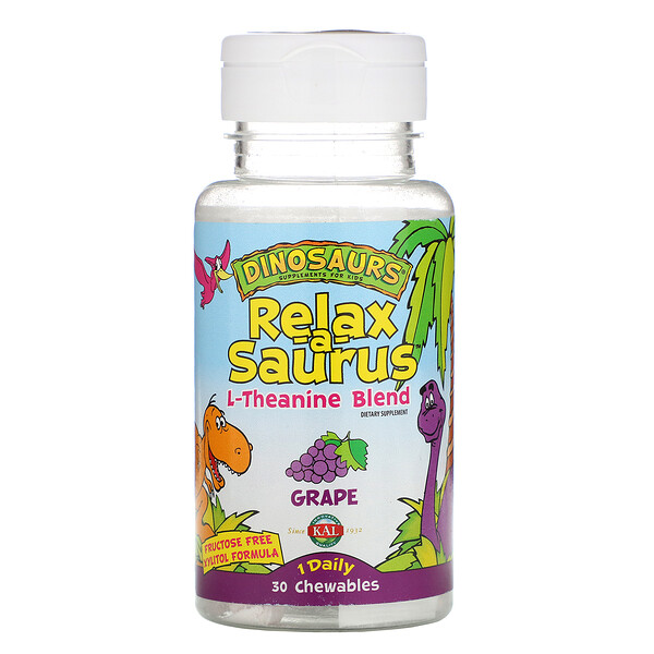 Dinosaurs, Relax-a-Saurus, L-Theanine Blend, Grape, 30 Chewables