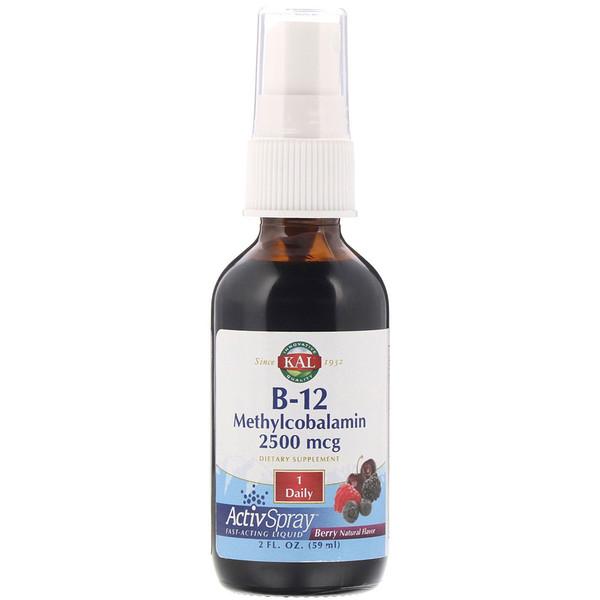 KAL, B-12 Methylcobalamin, Berry, 2500 mcg, 2 fl oz (59 ml)