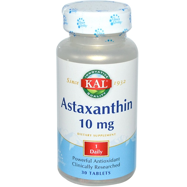 KAL, Astaxanthin, 10 mg, 30 Tablets (Discontinued Item)