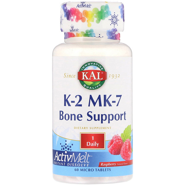 KAL, K-2 MK-7, Bone Support, Raspberry, 60 Micro Tablets