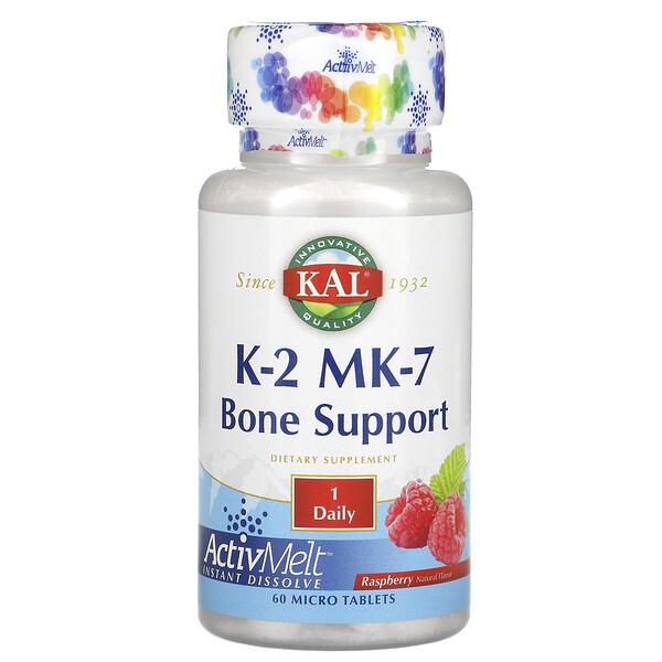 KAL, K-2 MK-7, поддержка костей, малина, 60 микротаблеток